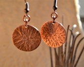 Prehistories Collection.Hammered copper earrings
