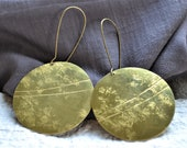 Celestial Body Collection. Hammered and stamped brass earrings