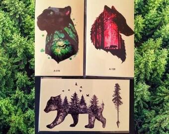 Bear tattoo | Etsy