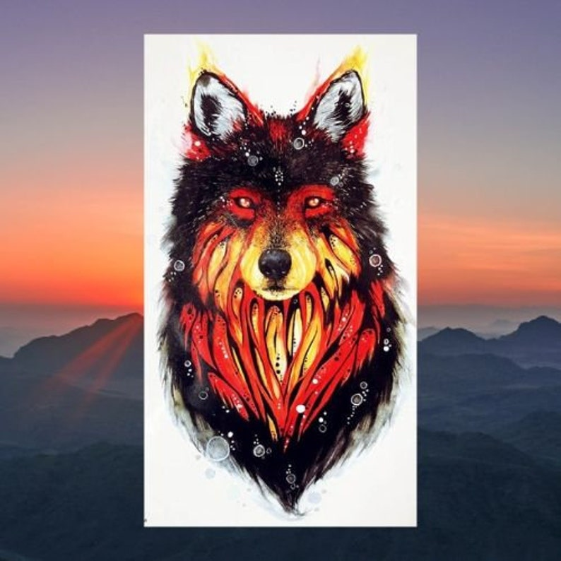 Wolf Temporary Tattoo, Mystical Wolf, Mountain Wolf, Fake Tattoo, Skin Art,  Body Art