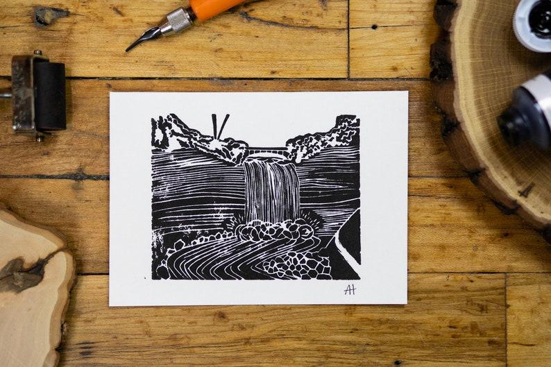 Minneapolis Minnehaha Falls Linocut Print image 0
