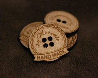 Product tags,personalized wooden buttons for knitted and crocheted items,Custom Wooden buttons,labels for products,wooden tags,Custom Tags