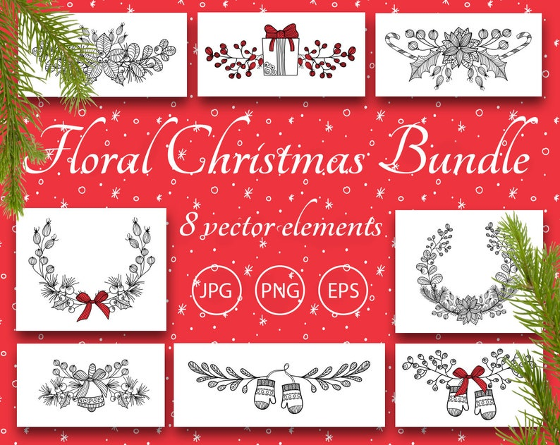 Christmas Garland Clip Art Christmas Border Clipart Christmas Banner Clipart Scrapbook Printable Digital Clipart Frame Eps Png Vector