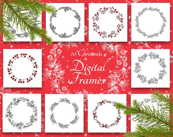 Christmas Frame Clipart.Christmas Round Frame Vector Set Christmas Clipart Christmas Frame Clipart Clipart Digital Scrapbook Clipart Red Vector Png Eps