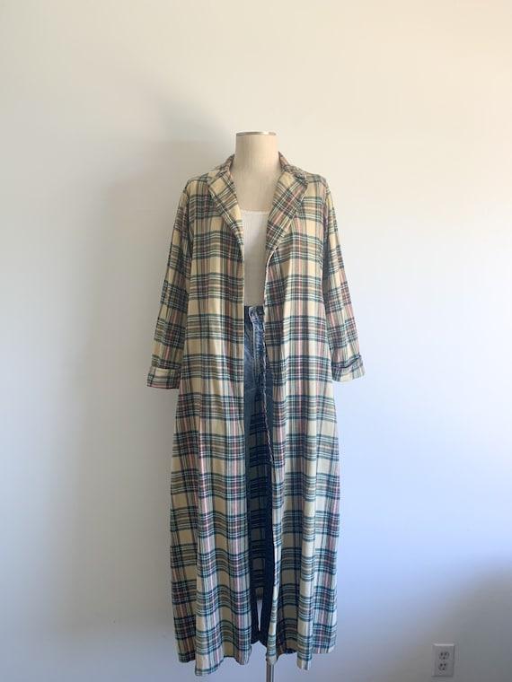 Vintage Plaid Flannel Duster Robe Jacket