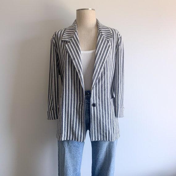 Vintage Cotton Seersucker Boxy Blazer