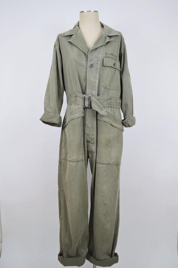 Vintage Green Herringbone WWII Coveralls Boiler Su