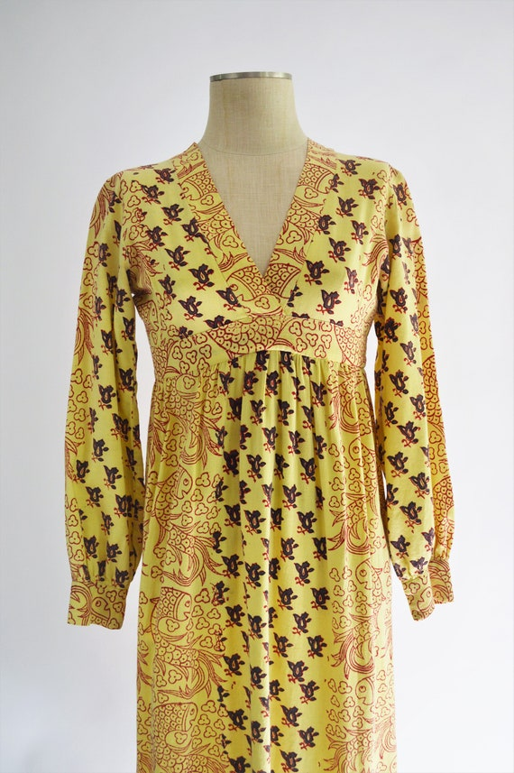 Vintage 70s India Block Print Cotton Dress