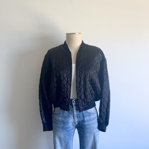 Vintage Black Quilted Bomber Jacket