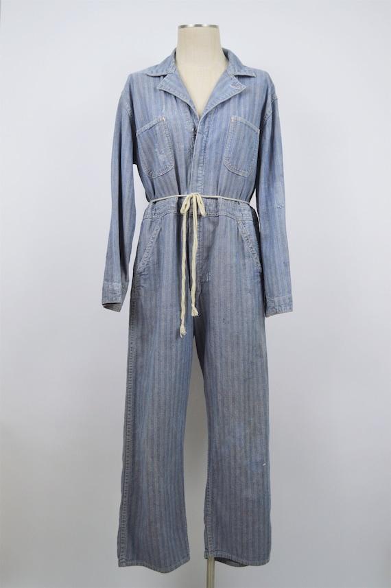 Vintage Blue Herringbone Coveralls Boiler Suit Jum