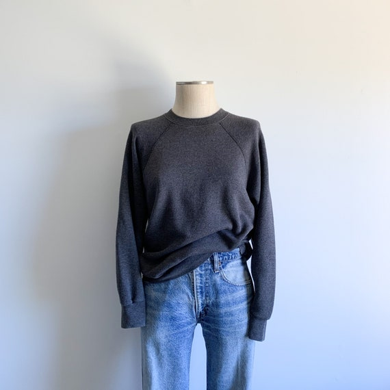 Vintage Dark Grey Crewneck Raglan Sweatshirt