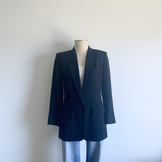 Vintage Black Silk Blazer