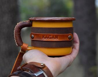 Personalized Enamel Mug, Leather Enamel Mug, Camping Mug,  Mug Gift, Travel Mug, Forest Mug, Outdoor mug,  Mountain Mug
