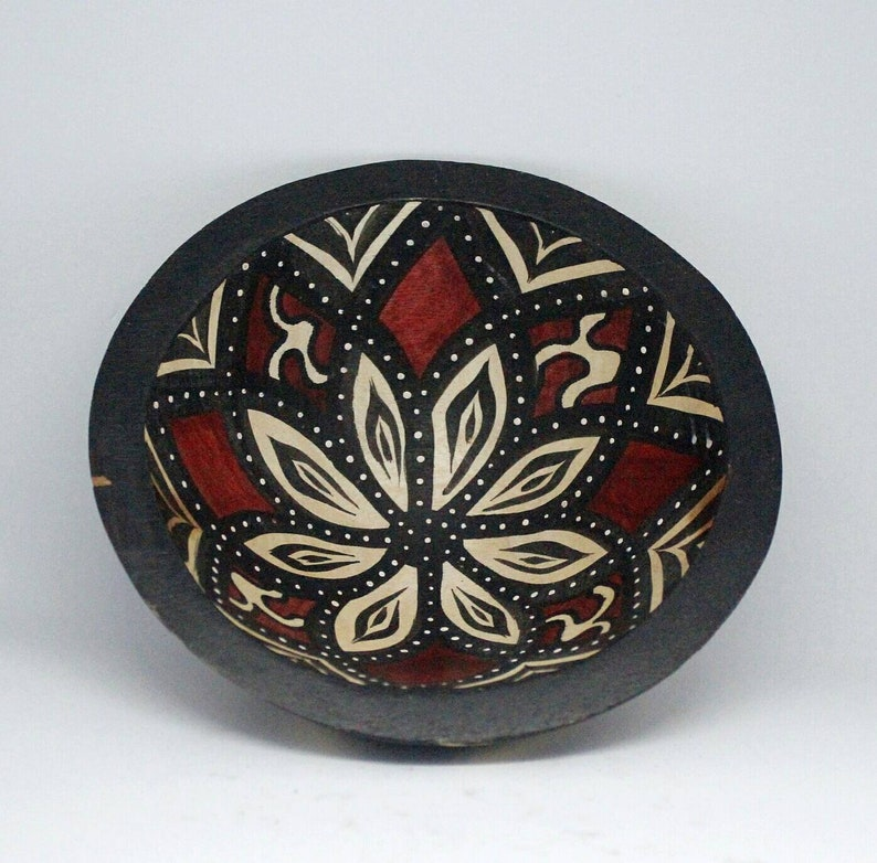14cm Decorative Painted Wood Bowl African Art Decor From Cape Town South Africa Light Weight Hand Carved Housewarming Gifts Big Size Also
