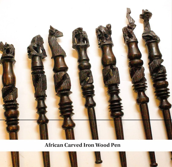 Lions giraffe Brown Hand carved ironwood Pen with African animals Unique hard wood handmade Art from Malawi Eagle and more Elephant