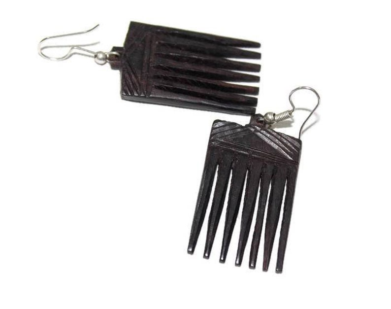 shipping worldwide Ironwood Carved Chandelier Earrings set Afro Comb shaped carving jewelry accessories Unique gifts for her