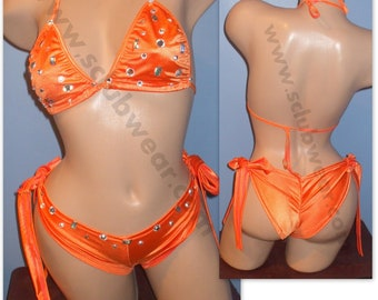 324c76b3f3798 Jeweled Bikini tie scrunch butt shorts set -16 color choices available!  Exotic Dancer, Stripper, Lingerie or Unlined Swimwear