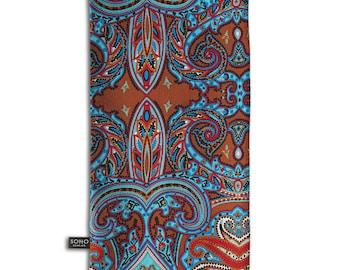 The Kanda Men/'s Silk Scarf with Multicoloured Fleur de Lis Design