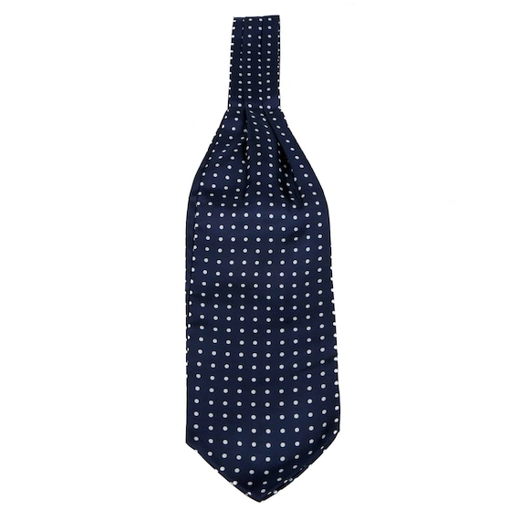 The Westminster Ascot Mens Navy Blue Polka Dot Silk Ascot Tie