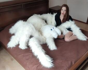 Spider Sleeping Plush- Monster Home Decor- Extra Large Plush- Faux Fur Plush Doll- White Witch Bedroom Decor- Tarantula Art Doll