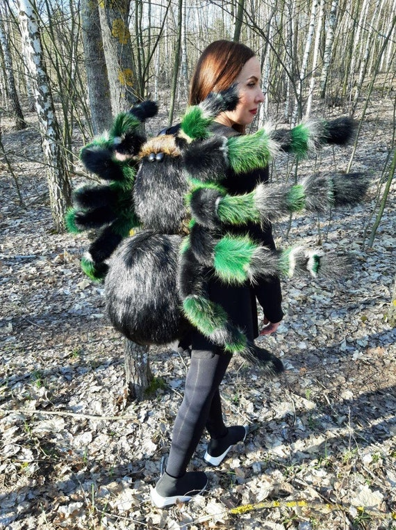 Whitch Costume Spider Shoulder Pet Cosplay Wings Halloween Costume Ideas For Adult Women Men Insect Tarantula Horror Movie Photo Prop Gothic