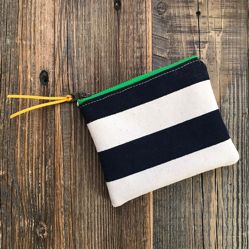 Navy and white striped canvas small zipper coin purse wallet card holder ear bud case