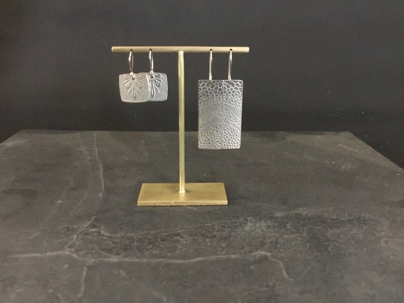 Brass earring display stand 80mm drilled for two pairs of post earrings