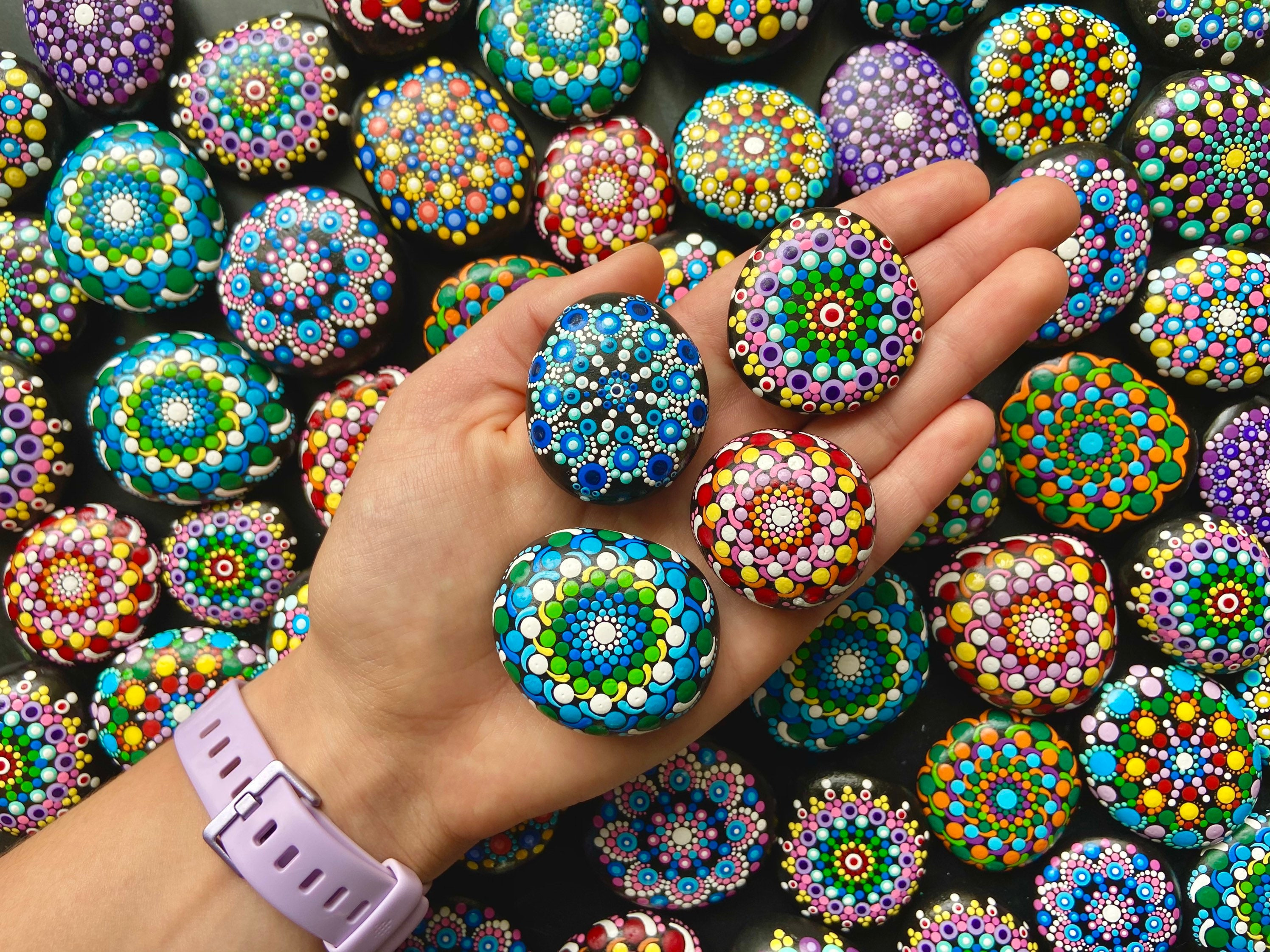 Mandala stone Dot Mandala Zen Garden Paperweight Hand-painted Meditation Stone Mandala Art Painted Rock Mindfulness gift
