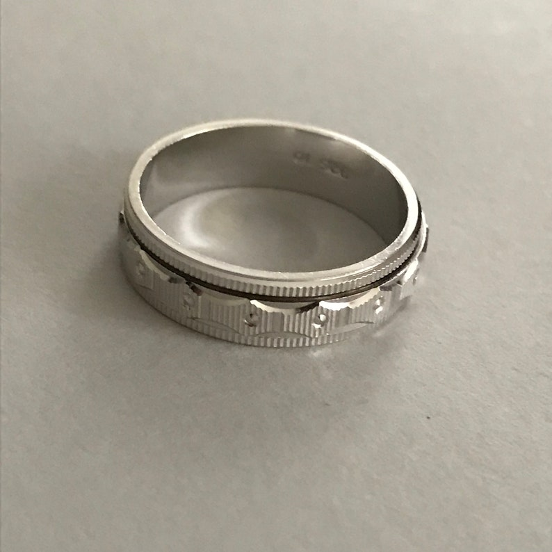 Wedding Band Spinner Band 0.925 Italy Fine Silver Wedding Ring Free Shipping.