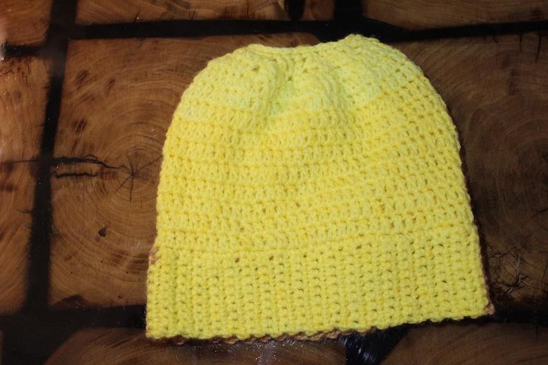 Pony tail beanie Crochet Winter Hat Bumblebee Hat Yellow Hat Messy Bun Beanie