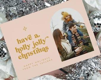 Retro Christmas Card Template, Modern Photo Holiday Card Printable, Minimalist Family Christmas Card, Vintage 70's Groovy Holiday Card MK92