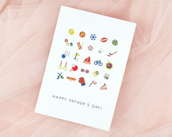Happy Father's Day Sports Card Printable Template, Athletics Card, Coaching Card, Team Card, Instant Download, DIY Editable and Customizable