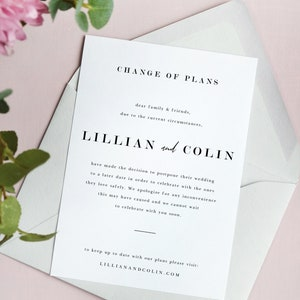 Instant Download ML26 Event Change of Plans Card Wedding Postponement Announcement Template Cancellation Postponed Wedding Printable