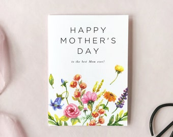 Floral Happy Mother's Day Card Printable Template, Colorful Editable Mothers Day Card, Watercolor Flower Garden Card, Instant Download EF53