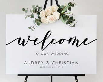 Modern Script Wedding Welcome Sign Template, Ceremony Sign Reception Sign Printable, Instant Download, Editable and Customizable MR27 MRV27