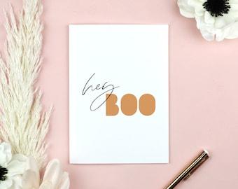 Hey Boo Halloween Printable Card, Modern Halloween Card Template, Neutral Boho Card, Fall Autumn Card, Blush Greeting Card, Blank Inside
