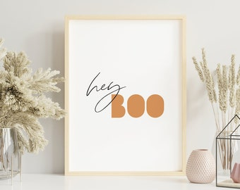 Hey Boo Halloween Modern Wall Art, Boho Typography Printable Wall Art, Digital Art Print, Fall Neutral Quote Art Print, Instant Download