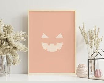 Halloween Print Art Print, Printable Wall Art, Fall Autumn Digital Print Wall Art, Boho Decor, Warm Neutral Blush Colors, Instant Download
