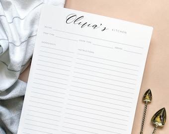 Minimalist Recipe Sheet Template, Personalized Full Sheet Recipe Page, Cookbook Recipe Page Printable, Recipe Planner, Modern Recipe Page