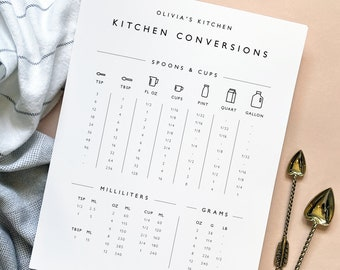 Minimalist Kitchen Measurement Conversions Printable Template, Personalized 8.5 x 11, Instant Download, DIY Editable and Customizable