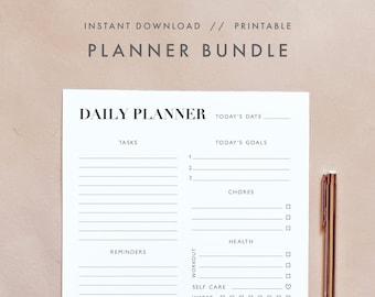 Modern Minimalist Planner Bundle, Daily Weekly Monthly Planner, Calendar Planner, Printable Planner, Undated Planner, Digital Planner