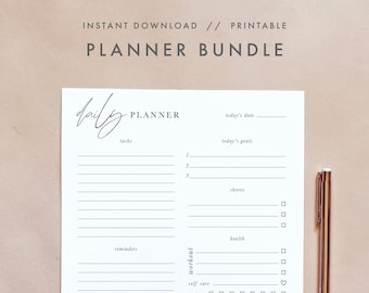 Modern Minimalist Planner Bundle, Daily Weekly Monthly Planner, Calendar Planner, Printable Undated Planner Template, Instant Download
