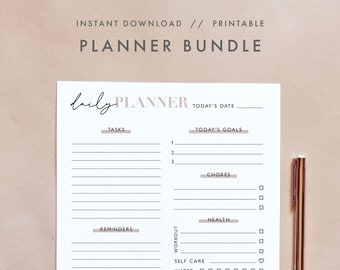 Minimalist Planner Bundle, Daily, Weekly, Monthly Planner, Notes, Calendar Planner, Printable Undated Planner Template, Instant Download