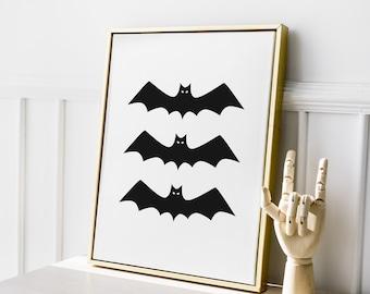 Modern Halloween Bat Print Art Print, Printable Wall Art, Fall Autumn Digital Print Wall Art, Minimalist Black and White, Instant Download