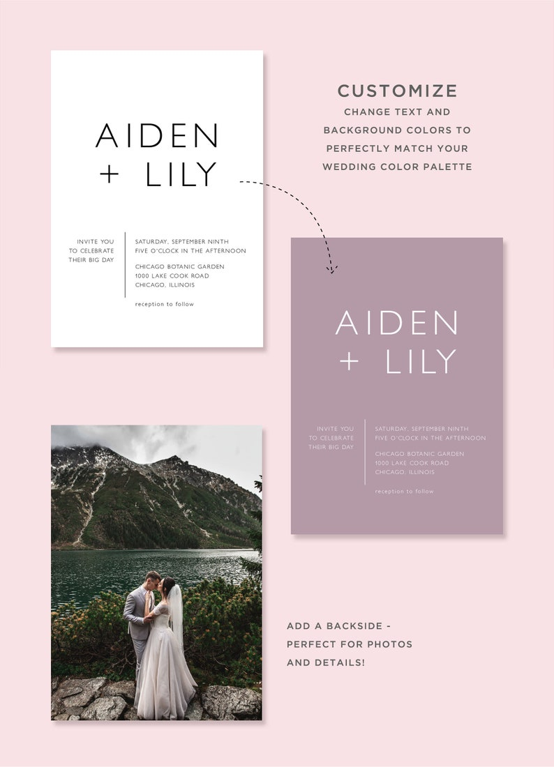 Instant Download Blush Marble Watercolor Wedding Website Details Card Template DIY Editable and Customizable TA35 Modern Insert Printable