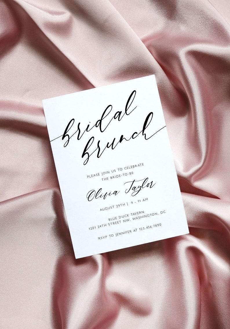 Elegant Wedding Shower Printable Invitation Modern Calligraphy Bridal Shower Invitation Template Minimalist Bridal Brunch Invitation CL38