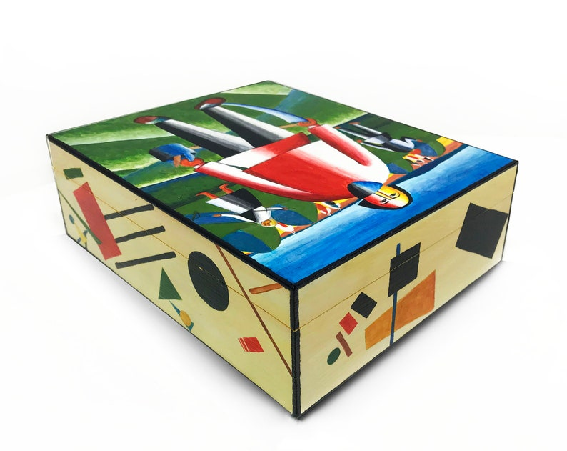 On haymaking\u201d  wooden jewelry box Handpainted  box for organizer for small things. Casket  \u201cMalevich