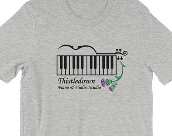 b16d4306 ADULT Thistledown Piano & Violin Studio Logo ~ Short-Sleeve T-Shirt ~ Small  through 4x available ~ Music Student Piano Violin Gift