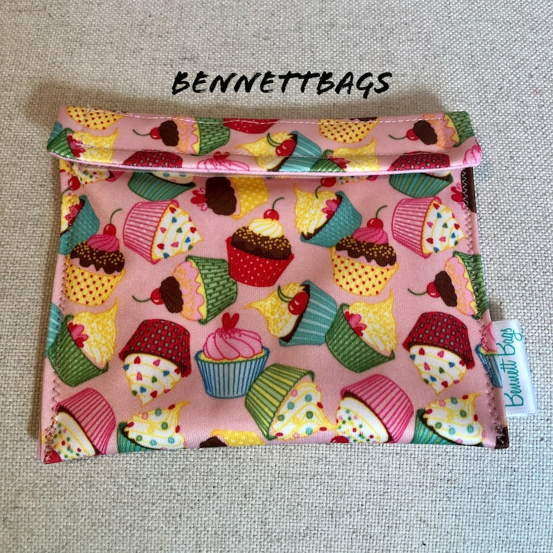 Food Safe Eco-Friendly and Quality Made Washable Velcro FlipTop Closure BennettBags Reusable Snack Bag made with PUL Waterproof Fabric