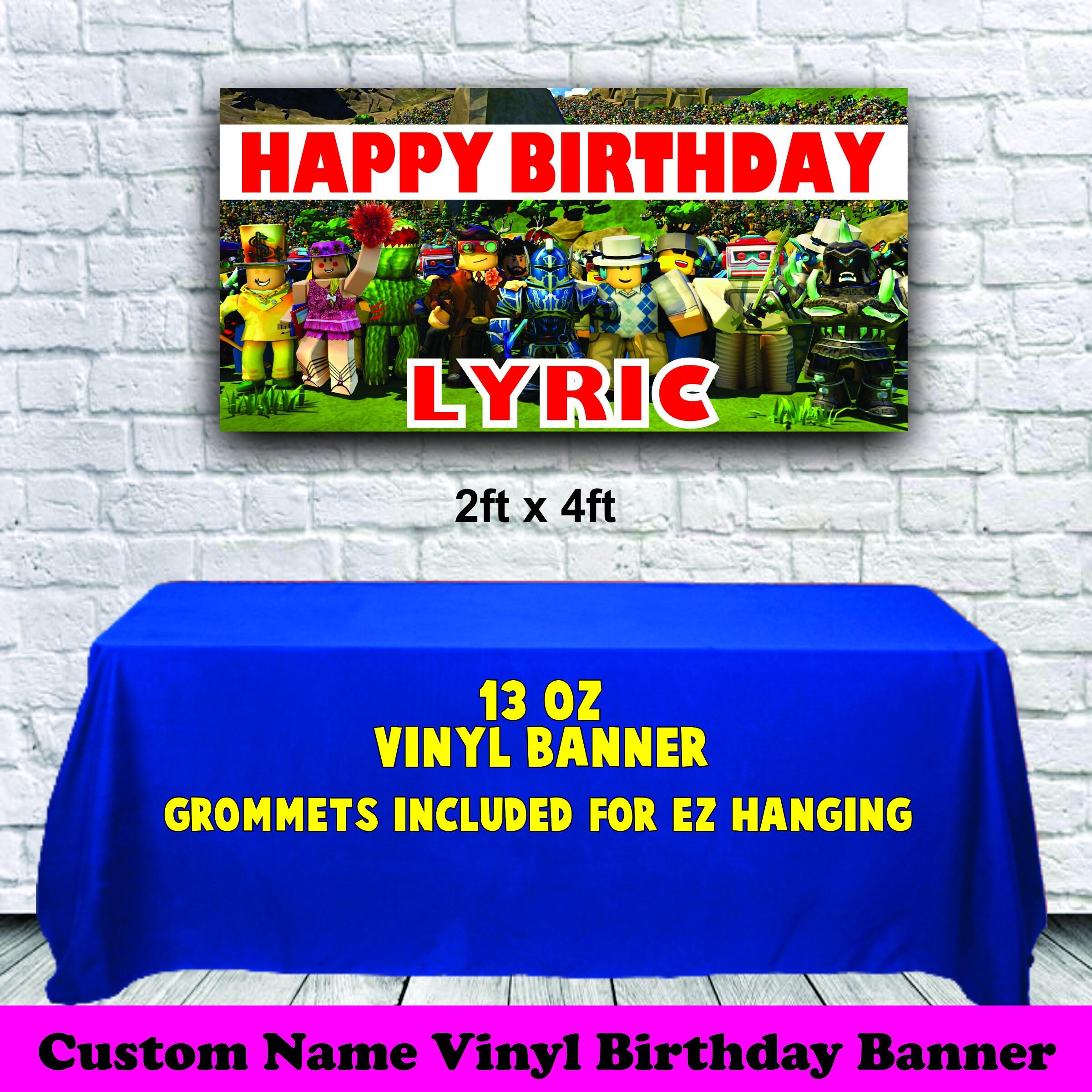 Roblox Happy Birthday 13 Oz Vinyl Banner Personalized Custom Etsy